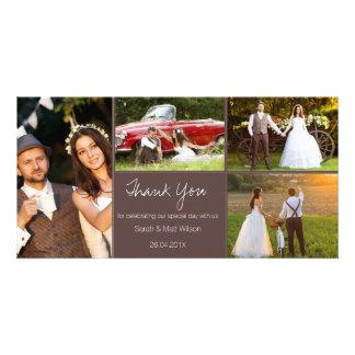 Tarjeta El boda rústico de cuatro fotos le agradece
