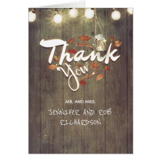 Tarjeta El boda rústico de la caída le agradece