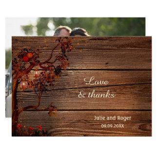 Tarjeta El boda rústico de la foto de la caída le agradece