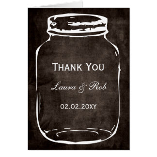 Tarjeta el boda rústico del tarro de albañil le agradece