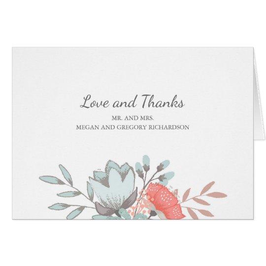 Tarjeta el boda rústico del vintage floral le agradece