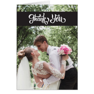 Tarjeta El boda simple de la escritura le agradece dobló