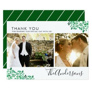 Tarjeta El boda verde de la foto del follaje el   de la