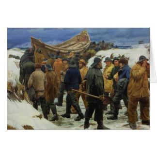 Tarjeta El bote salvavidas es tomado a través de las dunas