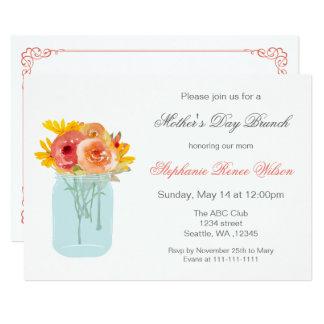 Tarjeta El brunch floral del día de madre del tarro de