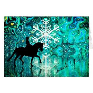 Tarjeta El caballo del Dressage, copo de nieve del