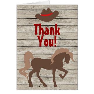 Tarjeta El caballo, gorra de vaquero, occidental de madera