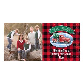 Tarjeta El camión del vintage del navidad añade la foto y