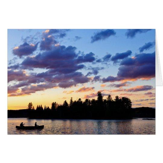 Tarjeta El Canoeing en la puesta del sol