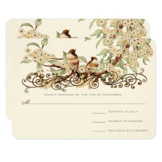 Tarjeta El casarse de marfil de los pájaros del amor del