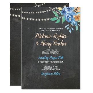 Tarjeta El casarse invita a la acuarela azul floral de la