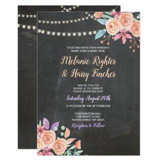 Tarjeta El casarse invita a la lila floral de las luces