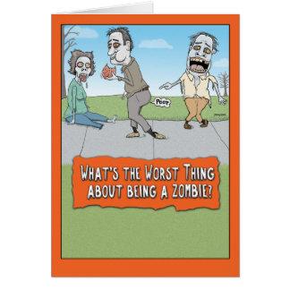 Tarjeta El cerebro divertido del zombi Farts Halloween