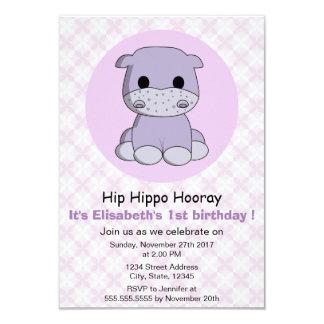 Tarjeta El chica púrpura del hipopótamo femenino lindo
