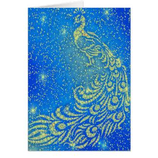 Tarjeta El chispear pavo real azul y amarillo