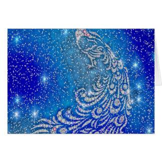 Tarjeta El chispear pavo real azul y blanco