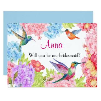 Tarjeta ¿El colibrí floral sea mi dama de honor?