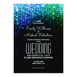 Tarjeta El color elegante del pavo real del boda enciende