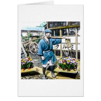 Tarjeta El comerciante de la flor en el viejo vintage de