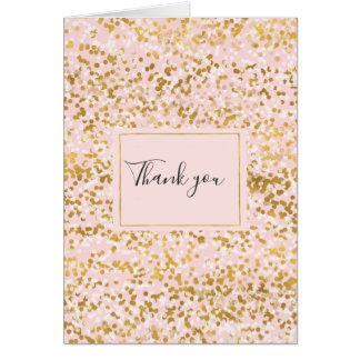 Tarjeta El confeti rosado blanco del oro le agradece