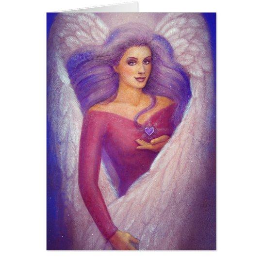 Tarjeta El corazón cristalino Amethyst de un ángel