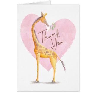 Tarjeta El corazón de la jirafa le agradece cardar