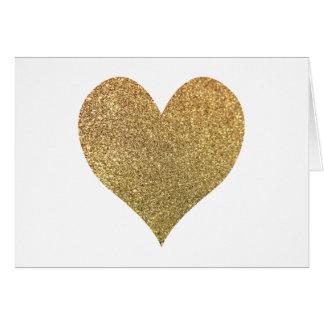 Tarjeta El corazón del brillo del oro le agradece