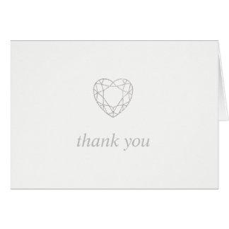 Tarjeta El corazón geométrico de plata le agradece -