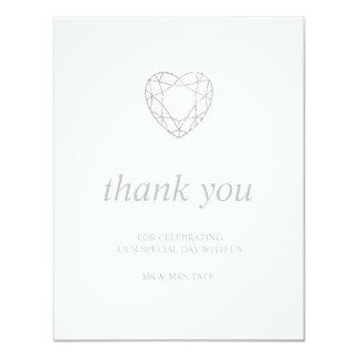 Tarjeta El corazón geométrico de plata le agradece - plano