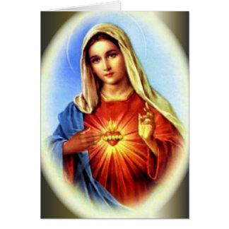 Tarjeta El corazón inmaculado del Virgen María bendecido