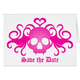 Tarjeta El cráneo del gótico del vampiro en rosa, ahorra