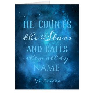 Tarjeta Él cuenta las estrellas en el universo