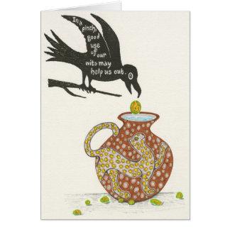 Tarjeta El cuervo y la jarra Notecard de Esopo
