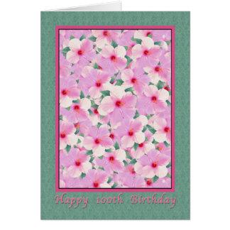 Tarjeta El cumpleaños, 100o, hibisco rosado florece la