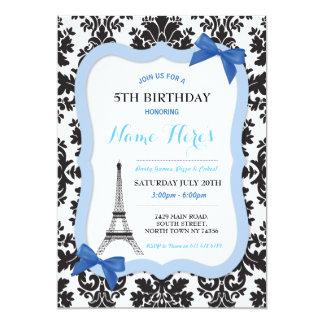 Tarjeta El cumpleaños azul del arco de la torre Eiffel de