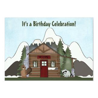 Tarjeta El cumpleaños de la cabina del castor, del mapache
