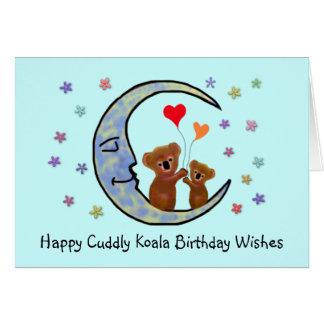 Tarjeta El cumpleaños de la luna de la koala desea la