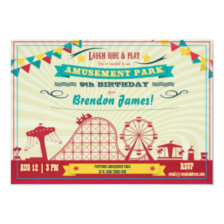 Tarjeta El cumpleaños del carnaval del Funfair del parque