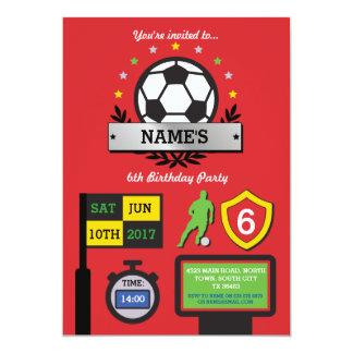 Tarjeta El cumpleaños del fiesta del fútbol del muchacho