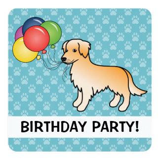 Tarjeta El cumpleaños del golden retriever hincha el perro