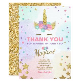 Tarjeta El cumpleaños del unicornio le agradece cardar el