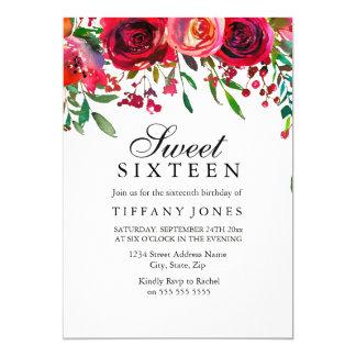 Tarjeta El cumpleaños elegante del dulce 16 de la flor del