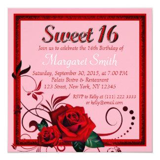 Tarjeta El cumpleaños elegante del dulce 16 del rosa rojo