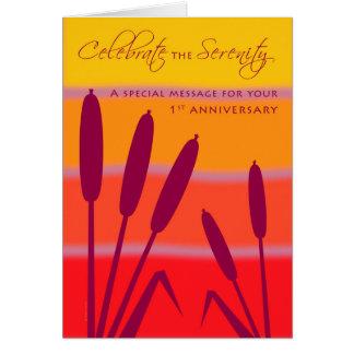 Tarjeta El cumpleaños o el aniversario de 12 pasos 1 año