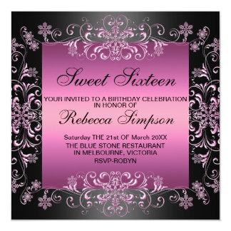 Tarjeta El cumpleaños rosado del polvo de la nieve Sweet16