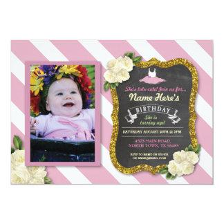 Tarjeta El cumpleaños rosado lindo del fiesta del tutú del