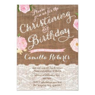 Tarjeta El cumpleaños y el bautizo rústicos invitan para