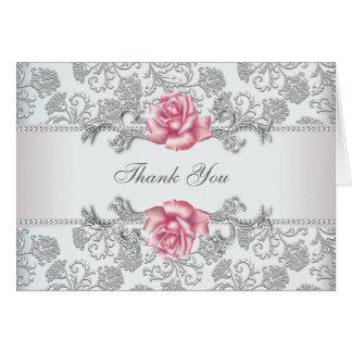 Tarjeta El damasco color de rosa rosado le agradece