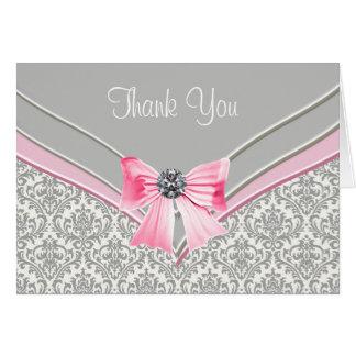 Tarjeta El damasco gris rosado le agradece
