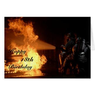 Tarjeta El décimo octavo cumpleaños del bombero
